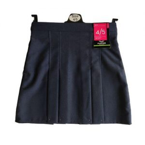 T22 Lined 2x4 Box Pleated School Skirt Navy