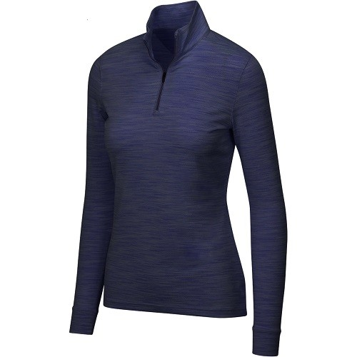 Greg Norman Ladies Heathered Mesh Stretch 1/4 Zip Mock