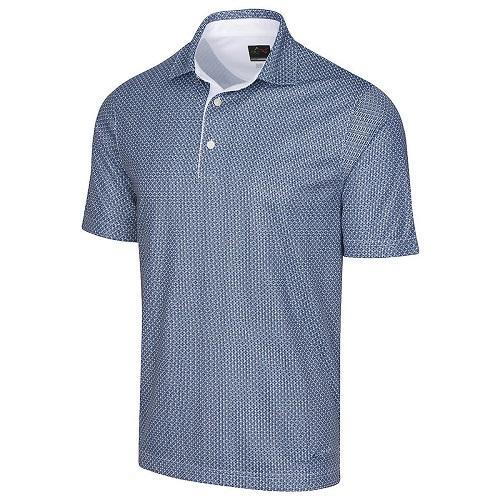 Greg Norman Mens ML75 2Below Fine Print Wicking Golf Polo Shirt