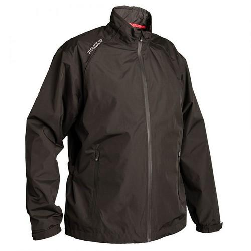 Proquip Mens Tempest Waterproof Lightweight Full Zip Golf Rain Jacket Black Colgan_Sports